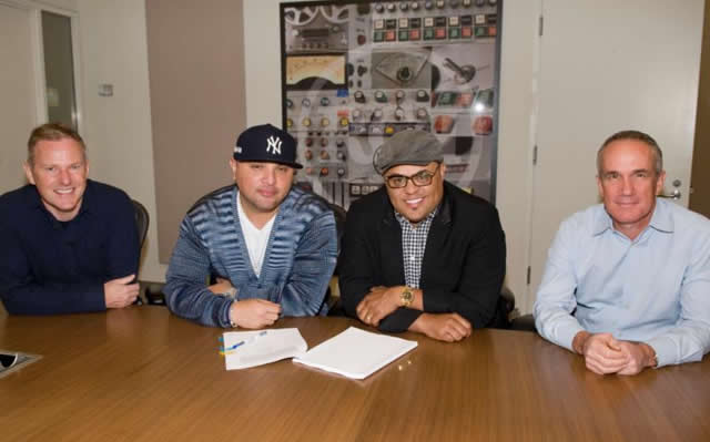 From L to RPeter Edge CEO RCA Records; Galley Molina CEO RGM-NEW BREED; Israel Houghton Tom Corson President COO RCA Records
