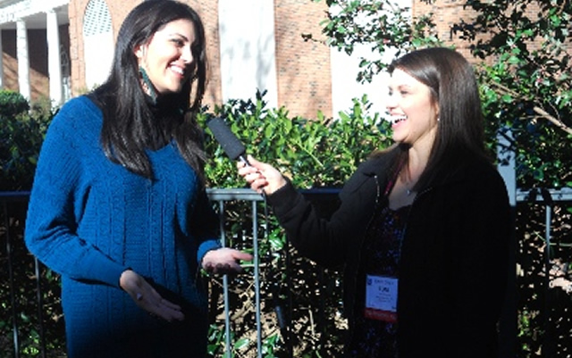 Julie Elias, left, is interviewed during NRB by Toni Hembree of the Bible Discovery Network