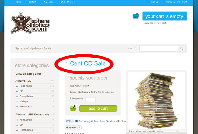 sphere of hip hip 1cent music sale