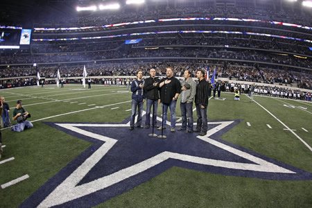 "MercyMe Closes 2010 With Billboard's National Christian Audience and Christian AC Song of the Year, ""All of Creation""   Band Performs National Anthem at Dallas Cowboys Game   Nashville, TN…December 15, 2010….On the heels of their second American Music Award win for Contemporary Inspirational Artist, MercyMe recently garnered the National Christian Audience Song of the Year and Christian AC Song of the Year with ""All of Creation"" according to Billboard magazine. The track dominated Billboard's AC Monitored chart for 11 weeks, the longest run at No. 1 in the band's career.   Along with the Song of the Year nod, MercyMe is closing out 2010 with a bang in other ways as well.   Having wrapped their successful ""The Generous Mr. Lovewell"" tour, the Dallas-area locals had a dream come true when they were recently asked to open a Dallas Cowboys Football game by singing the National Anthem for Sunday night football.   ""2010 has been an amazing year for this band,"" remarked lead vocalist Bart Millard. ""Christian radio, fans, etc have just been so good to us, and this year was no exception - it's just beyond incredible.   Of course standing on the football field before the Cowboys fans and such was mind blowing – what a thrill for all of us!  We're a blessed group of guys for sure.""   The multi-platinum selling band was also invited to visit Sam's Club associates in Bentonville, AR for their quarterly business review and holiday party. With nearly 1000 in attendance, MercyMe charmed the crowd with their humor and gave an intimate stripped down performance of some of their greatest hits, along with a selection of new favorites off of their latest best-selling album The Generous Mr. Lovewell (INO Records).   MercyMe will kick off 2011 on January 28th when they hit the road for the third annual  Rock and Worship Roadshow. Compassion International will serve as the executive producer and along with MercyMe the tour will also feature Jars of Clay, Thousand Foot Krutch, Matt Maher, The Afters and LeCrae.  For more information on MercyMe please visit www.mercyme.org.   ###   MercyMe:   Since their debut in 2001, Grammy-nominated, American Music Award and multiple GMA Dove Award winners MercyMe have sold nearly 6 million units in CD and DVD sales, while being one of few Contemporary Christian music groups to have had all of their recordings certified Gold or Platinum, as well as garner 23 No.1 multi-format Christian radio singles, and four consecutive mainstream radio hits with ""I Can Only Imagine,"" (No. 4 AC/top 25 on Top 40/Hot AC), ""Here With Me"" (No. 4 AC),  ""Homesick"" (top 10 AC), and ""So Long Self."" In 2009 BILLBOARD named MercyMe's ""Word Of God Speak"" the #1 Song of The Decade and the group the #1 Christian Songs Artist of the Decade, with an additional #1 as the Christian AC Song Artist of The Decade as one of the industry's most notable talents. MercyMe recently made history as ""I Can Only Imagine"" surpassed 1 million digital downloads, making it the first song in Christian music to go platinum in the digital domain. The multi-platinum selling band has sold out venues including Radio City Music Hall and has been seen on The Tonight Show,  CNN, Fox New Channel's Fox & Friends, ABC News, CBS' The Early Show, and on the pages of Entertainment Weekly, The New York Times, USA Today, Billboard, and more. www.mercyme.org"